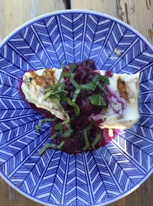 Grilled Halibut with Blueberry Sauce